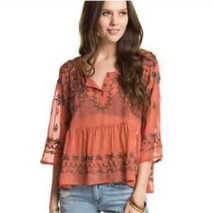 free people embroidered flowy boho blouse size m